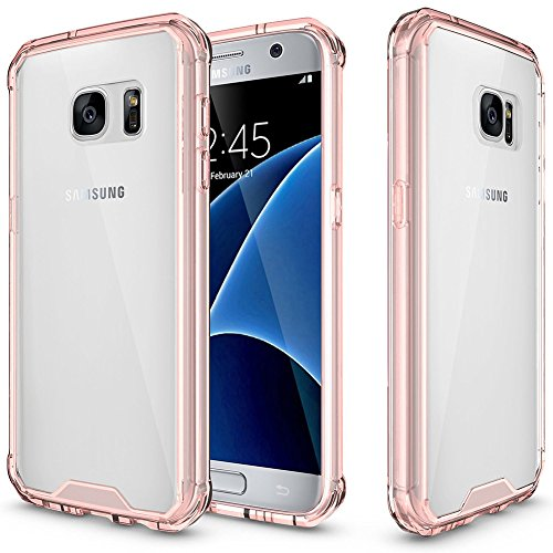 Galaxy S7 Case,AOFU [Ultra Slim]Crystal Clear Case PC Back TPU Bumper [Drop Portection Shock Absorption Technology] Protective Cover Case for Samsung Galaxy S7-Clear Pink