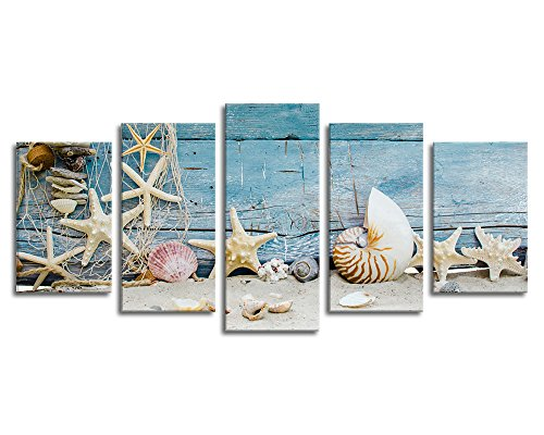 Canvas Wall Art Still Life Shells Starfishes Sea Snails Fishing Net Beach Sands Pale Blue Fence Board - 5 Piece Large Canvas Painting Artwork for Home Office Wall Decoration
