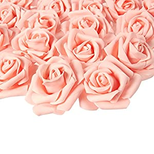 Juvale Rose Flower Heads – 100-Pack Stemless Artificial Roses, Perfect Wedding Decorations, Baby Showers, Crafts – Peach, 3 x 1.25 x 3 inches