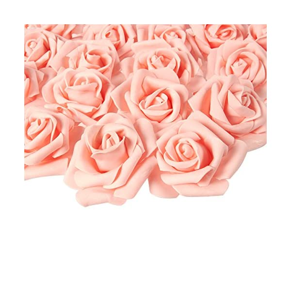 Artificial Rose Flower Heads for Weddings, Valentine's, DIY Crafts (3 in, Peach, 100 Pack)
