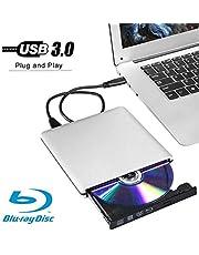 External 3D 4K Blu ray DVD CD Drive Burner, Portable USB 3.0 Blu-Ray DVD Player Writer Reader Disk for Laptop Notebook PC Desktops Support Windows/Vista/7/8/10, Mac OSX and Linux OS (Silver)