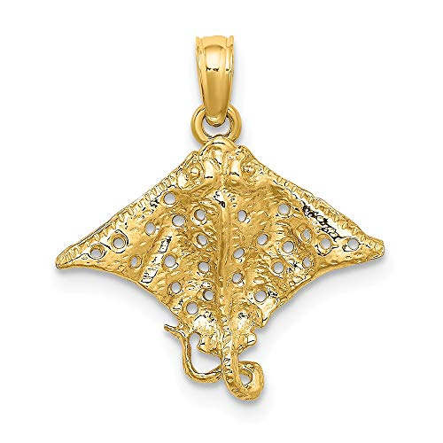 14k Yellow Gold 2 D Spotted Eagle Ray Holes Pendant Charm Necklace Animal Sea Life Stingray Fine Jewelry Gifts For Women For Her