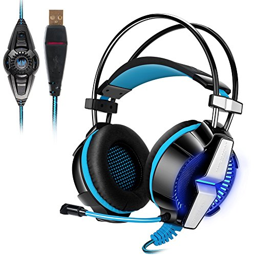 KOTION EACH G7000 7.1 USB Surround Sound Gaming Headphones Microphone Stereo Headset Enhanced Bass LED Light for Computer PC Adjustable Vibration Mode