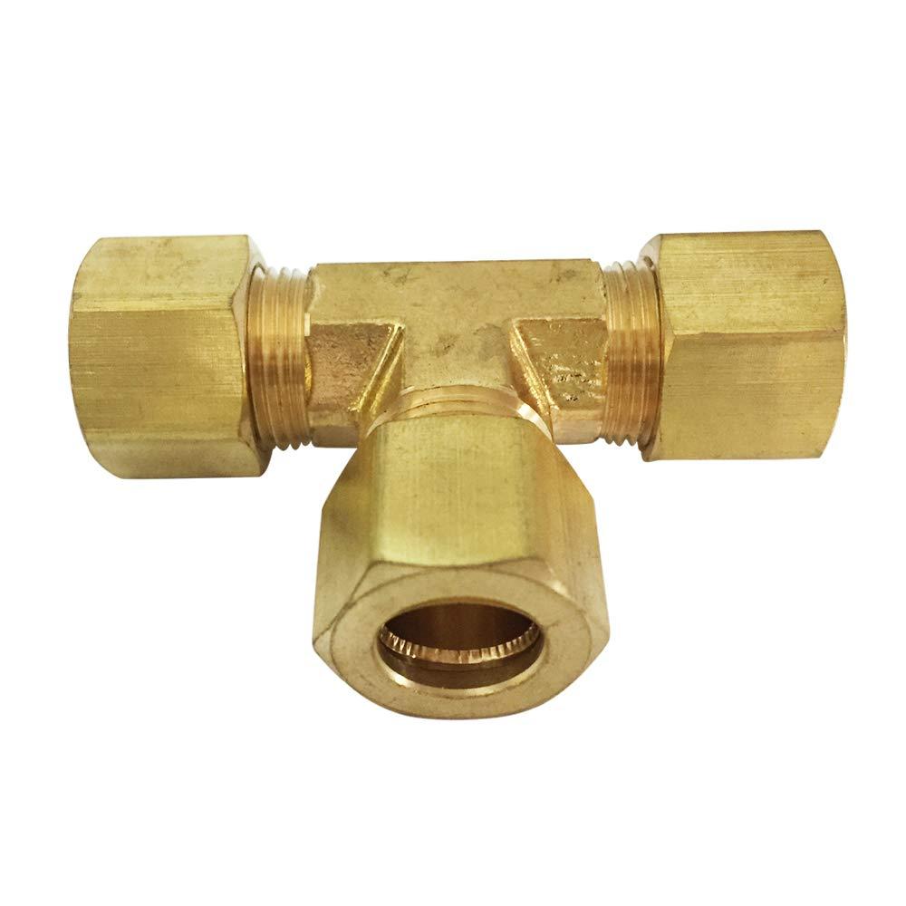 Brass Compression Tube Fitting Tee 5pcs 3//8 x 3//8 x 3//8 OD