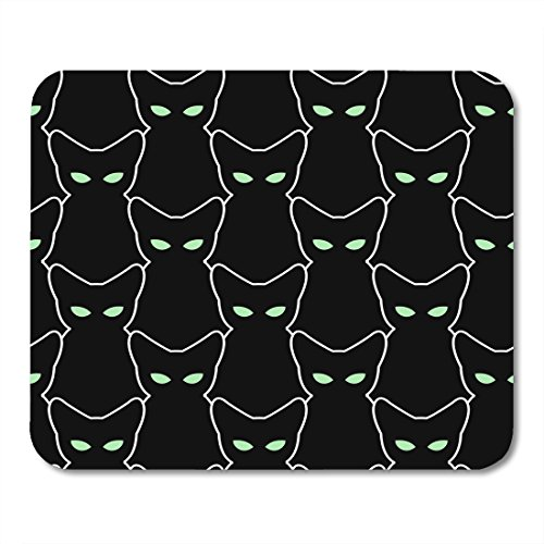 Boszina Mouse pad White Outline Black Cat for Halloween The of Pets Retro Many Silhouettes with Green Eyes Abstract Office Supplies mouses pad 9.5x7.9 Inches Mousepad -