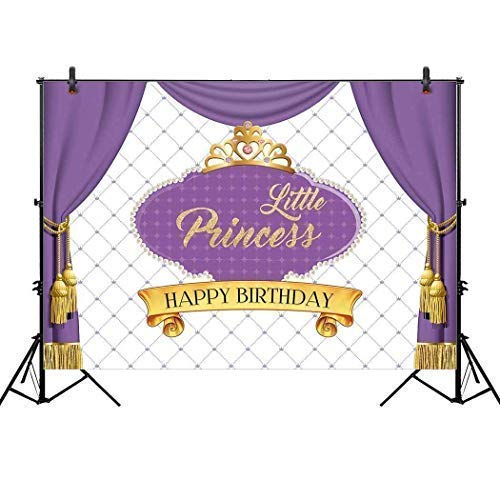 Allenjoy 7x5ft Royal Purple First Princess Backdrop for