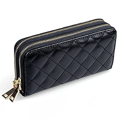 Women's Leather Wallet Clutch, Quilted Large Handbag Organizer Wristlet Card Holder - Dual Zipper Section