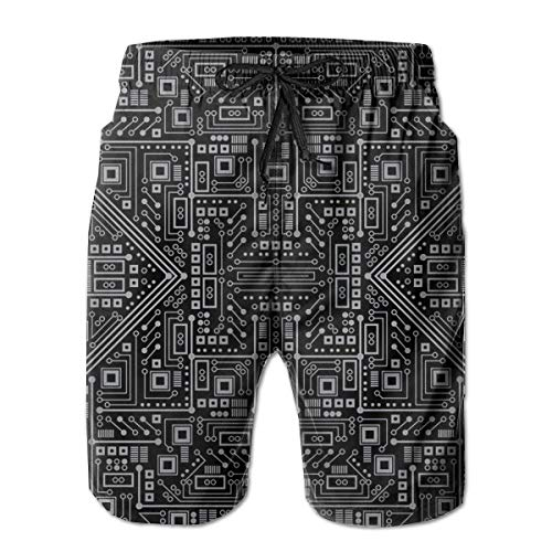 Evil Robot Circuit Board (Black and Gray) Men Swim Trunks Drawstring Elastic Waist Surfing Beach Board Shorts with Mesh Lining