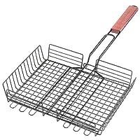 Cesta para asar a la parrilla, rectangular, antiadherente, con mango de palisandro, de carbón vegetal
