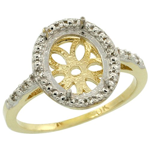 14K Yellow Gold Semi-Mount Ring ( 10x8 mm ) Oval Stone & 0.022 ct Diamond Accent, size 5