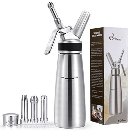 Whipped Cream Dispenser Stainless Steel bottle & Tips you get 3 Decorating Tips - 1 pint whip cream Culinary Easy Instructions (N2O Cartridges Not Included) by Afede winner