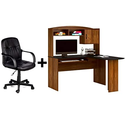 Amazoncom Corner L Shaped Wood Homeoffice Desk With Hutch In
