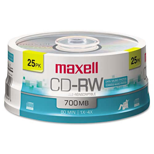 ~:~ MAXELL CORP. OF AMERICA ~:~ CD-RW Discs, 700MB/80min, 4x, Spindle, Silver, 25/pack