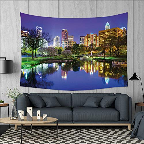smallbeefly City Tapestry Table Cover Bedspread Beach Towel North Carolina Marshall Park United States American Night Reflections on Lake Photo Dorm Decor 71