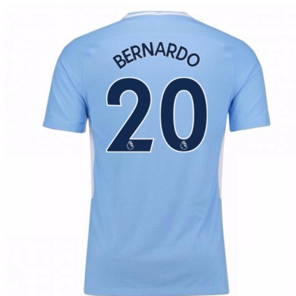 2017-18 Man City Home Football Soccer T-Shirt Trikot - Kids (Bernardo Silva 20)