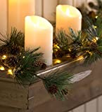 Indoor Battery LED Light Pine Cone Garland + Faux Greenery 72ft (Small Image)