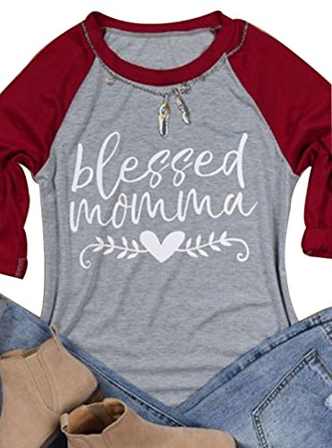 DUTUT Women 3/4 Sleeve Blessed Momma Letter Heart Print Thankful Day T-Shirt O-Neck Splicing Top