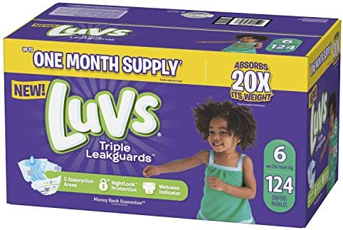 Luvs Ultra Leakguards Disposable Diapers, Size 6, 124Count, ONE MONTH SUPPLY (Packaging May Vary)