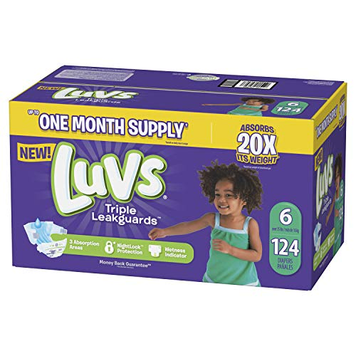 - Luvs Ultra Leakguards Disposable Diapers, Size 6, 124Count, ONE MONTH SUPPLY (Packaging May Vary)