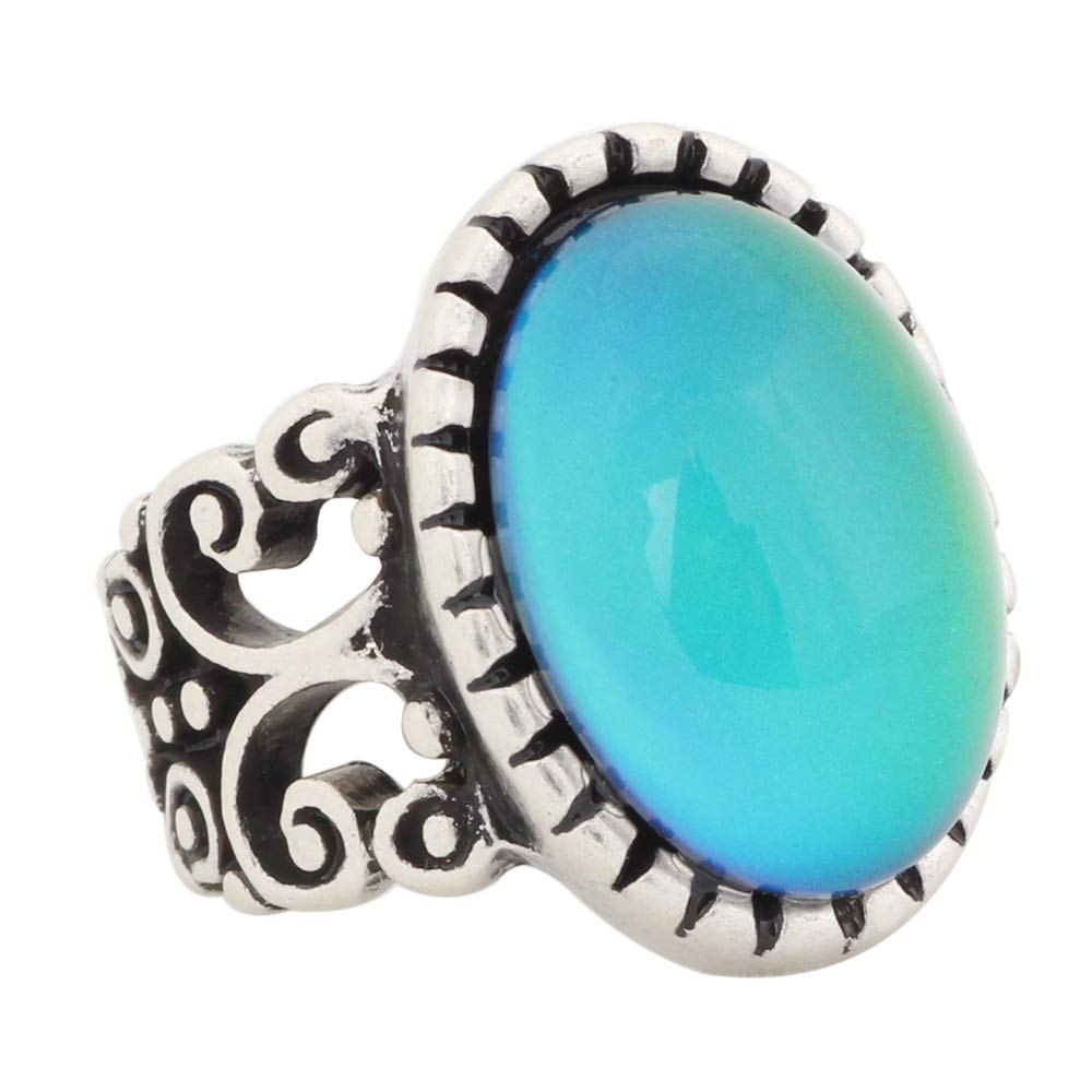 Mojo Vintage Retro Color Change Mood Ring Oval Emotion Feeling Changeable Ring Temperature Control Ring for Women MJ-RS003 (8)