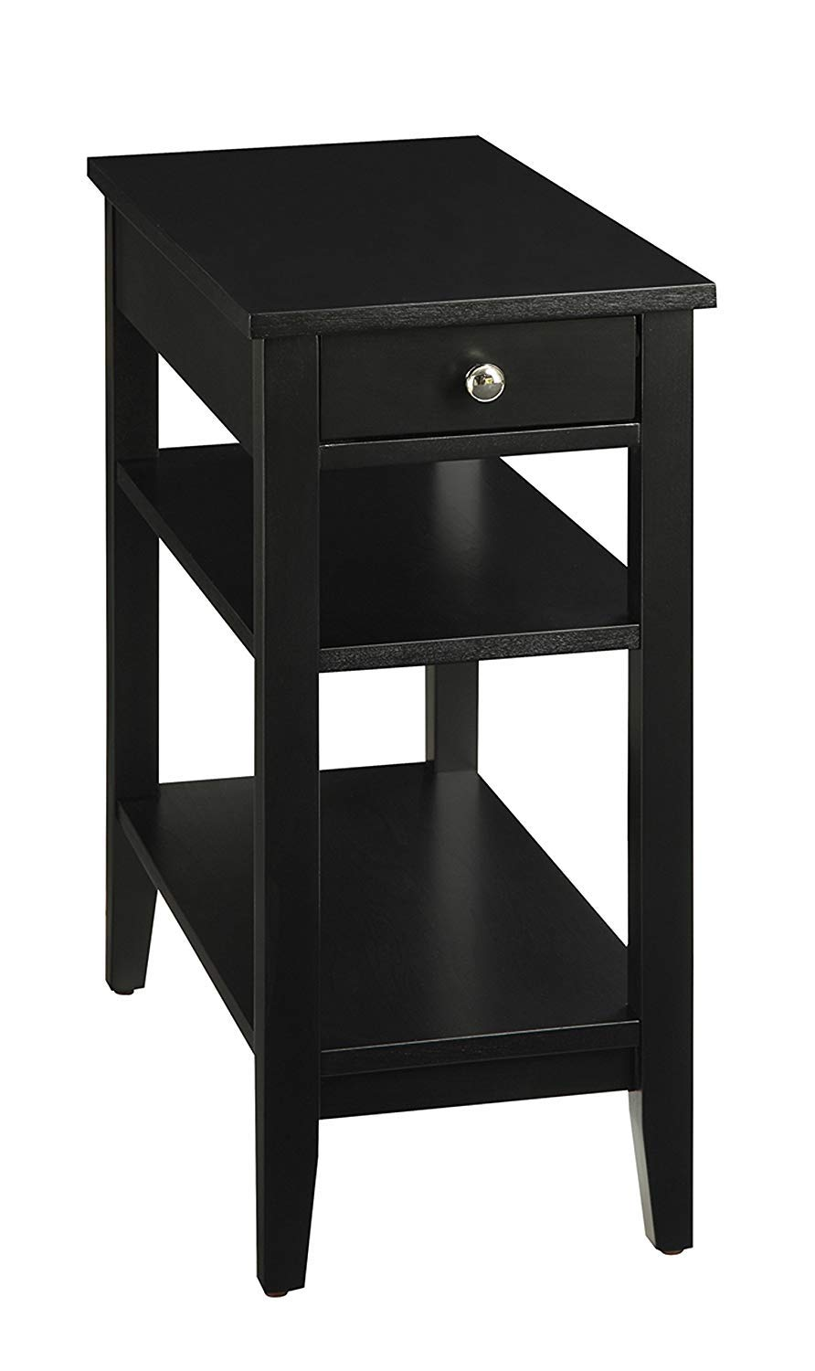 Convenience Concepts American Heritage 3-Tier End Table with Drawer, Black by Convenience Concepts