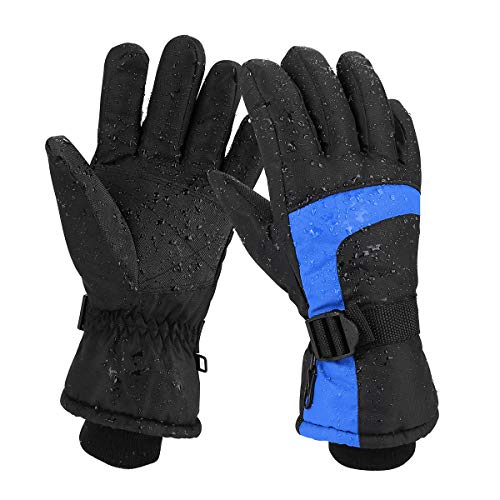 Keegud Ski Gloves for Men and Women Waterproof Windproof Snow Skiing Snowboarding Snowmobile Gloves for Winter Outdoors(L,Black-Blue)