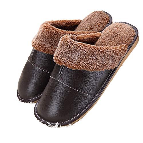 Pecora Pantofole Camera Furry Marrone Donna Uomo Di Pelle Indoor Lana Da Scarpe Caldo Casa Spessa Coppia Scuro Primavera 71rBA7n