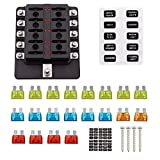 Faylapa 10-way Fuse Box Blade Fuse Holder Screw Nut Terminal 5A 10A 15A 20A Free Fuses LED Indicator Waterpoof Cover for Automotive Car Marine Boat