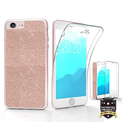 Bling Tri Max For Apple iPhone 7 360 Full Body TPU Scratch Resistant PC Bling Paper Rose Gold