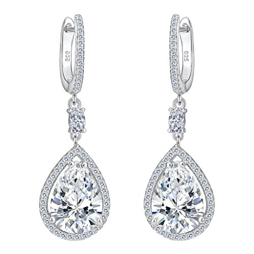 EVER FAITH Women's 925 Sterling Silver Cubic Zirconia Wedding Tear Drop Pierced Dangle Earrings Clear
