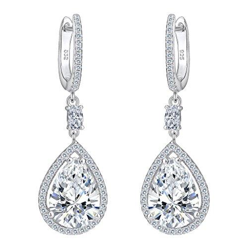 EVER FAITH Women's 925 Sterling Silver Cubic Zirconia Wedding Tear Drop Pierced Dangle Earrings Clear