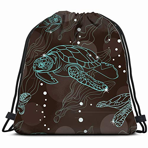 - Turtles Sea Nature Drawstring Backpack Gym Sack Lightweight Bag Water Resistant Gym Backpack For Women&Men For Sports,Travelling,Hiking,Camping,Shopping Yoga