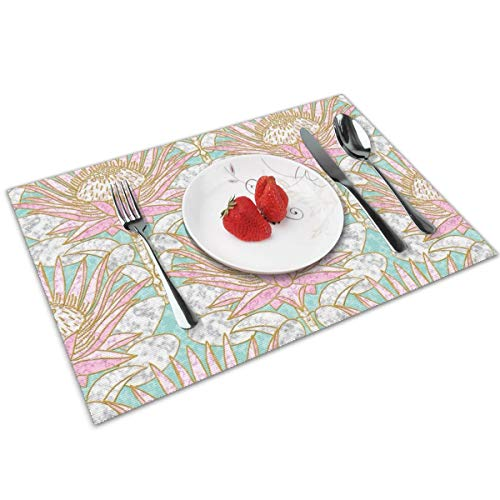 Luase Blush King Protea Art Deco (Mint) Table Placemats for Dining Table,Washable Placemat Heat-Resistant Set of 6(12X18 inch)