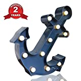 Slook Anchor Marquee Light, Blue Anchor LED Plastic Lamp Light Birthday Party Decoration for Valentina Gift,Kids' Room Decorations Anchor Party Light (Blue Anchor)