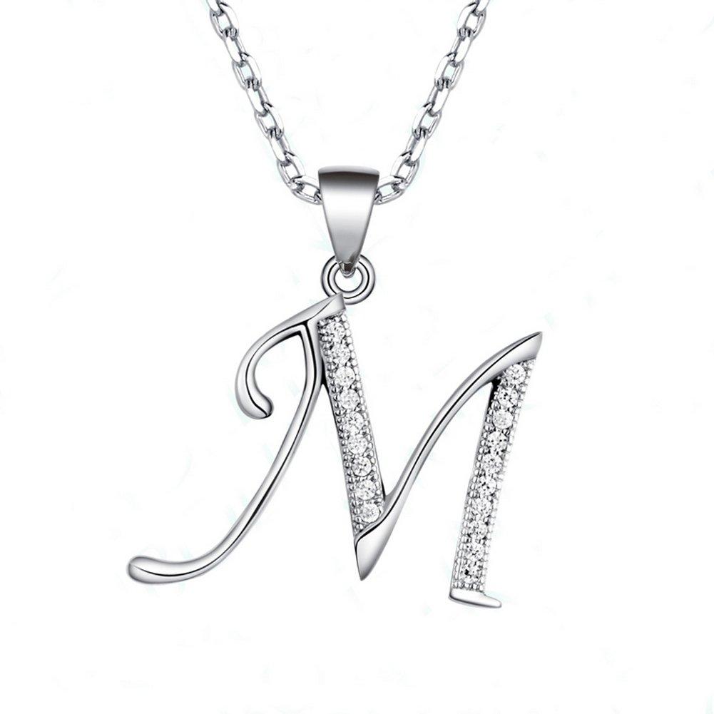 Paialco Initiale Collier Pendentifs avec Zircone Cubique Argent Sterling 925 Femme Bijoux - Charme Lettre M The Smith' s Eshop JN10202WH0M