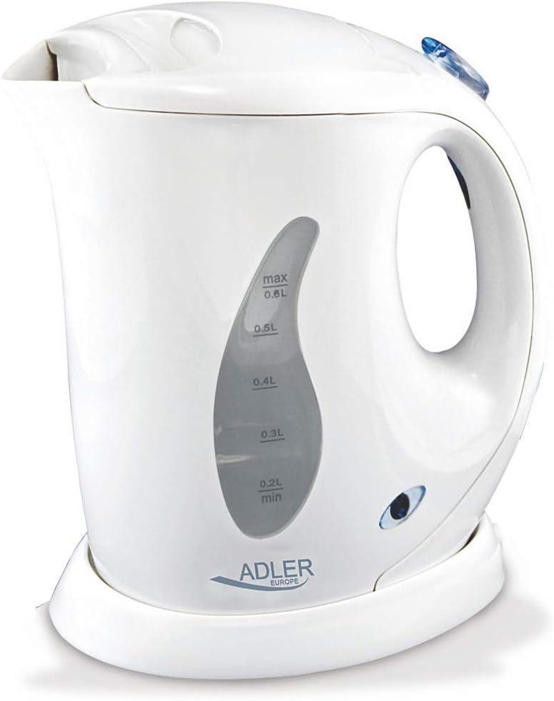 Adler AD 02 Hervidor de Agua Eléctrico de 760 W, 0.6 litros, 0 Decibeles, Polímero Libre de BPA, Blanco
