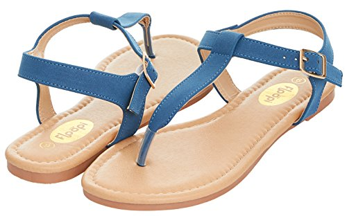 Floopi Womens Summer Flat Sandals T-Strap Thong Buckle Ankle Strap Sandal (6, Blue-509) -