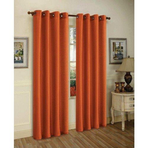 Amazon.com: 2 Piece Solid Orange Faux Silk Grommet Curtain Panel 58 By 84  Inch: Home U0026 Kitchen