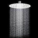 TANBURO 8'' inch Round Stainless Steel Rainfall Square Fixed Showerhead High Pressure Rain Shower head for Bathroom Adjustable