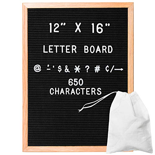 Felt Letter Board with 650 Letters, Numbers & Symbols - 12x16 Inch Changeable Message Board with Oak Wooden Frame, Plus Free Letter - Message Letter Board