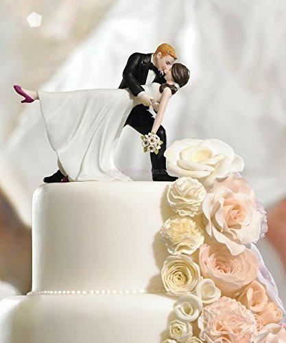 Romantic Bride and Groom Wedding Couple Figurine Dancing Dip Hug Cake Topper by unknwon