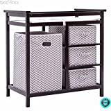 SKEMiDEX---Black Infant Baby Changing Table w/3 Basket Hamper Diaper Storage Nursery New This Baby Changing Table keeps everything tidy and concealed for a clean look in the nursery