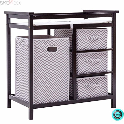 SKEMiDEX---Black Infant Baby Changing Table w/3 Basket Hamper Diaper Storage Nursery New This Baby Changing Table keeps everything tidy and concealed for a clean look in the nursery by SKEMiDEX