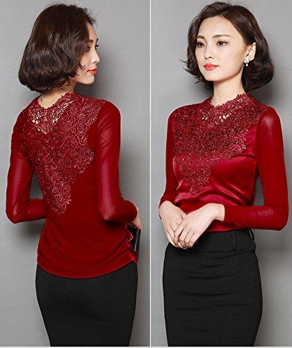 Vineux Slim Top Longue Acvip shirt Femme En Rouge T Manche Dentelle Blouse RxqBPFU