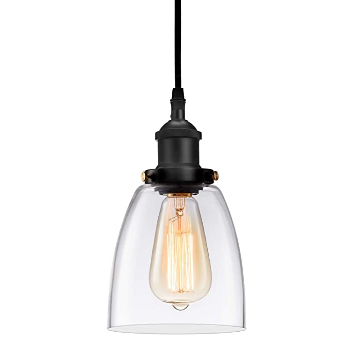 Industrial 1 Light Pendant Clear Glass Adjutable Nylon Core Mini Ceiling Lights Ceramic Holder Island Lighting Fixture Indoor for Dining Kitchen Room Entryway Loft Hanging Lamp(Bulb Not Included)