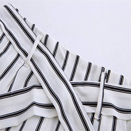 Libero Palazzo Stripe Fashion Grazioso Eleganti Waist High Bianca Donna Pantaloni Per Sciolto Tempo Accogliente Baggy Estivi CTggwq