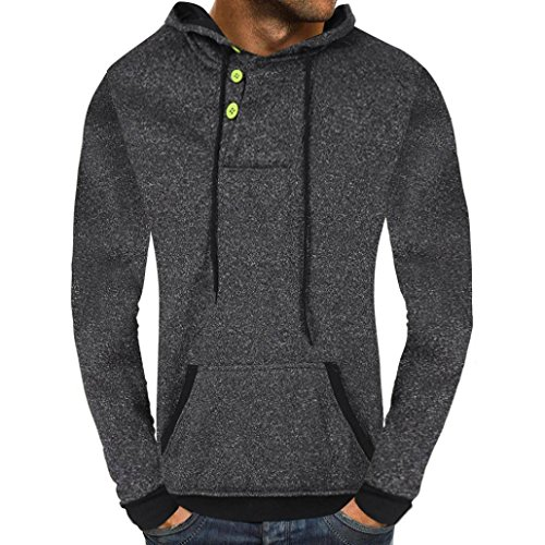 Clearance Men's Casual Autumn Solid Buttons Hooded Sweatshirt Outwear Tops by vermers(2XL, Dark Gray) ()