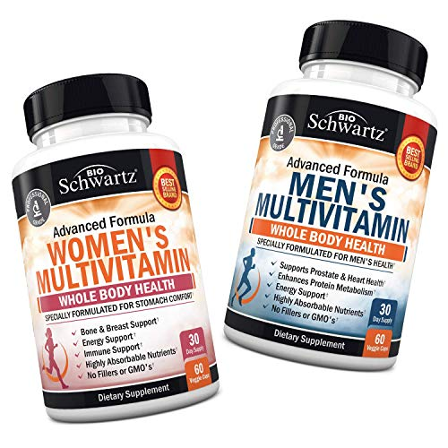 Women's + Men's Daily Multivitamin for Whole Body Health – for Immune Support – with Zinc, A, B, C, D3, E Vitamins