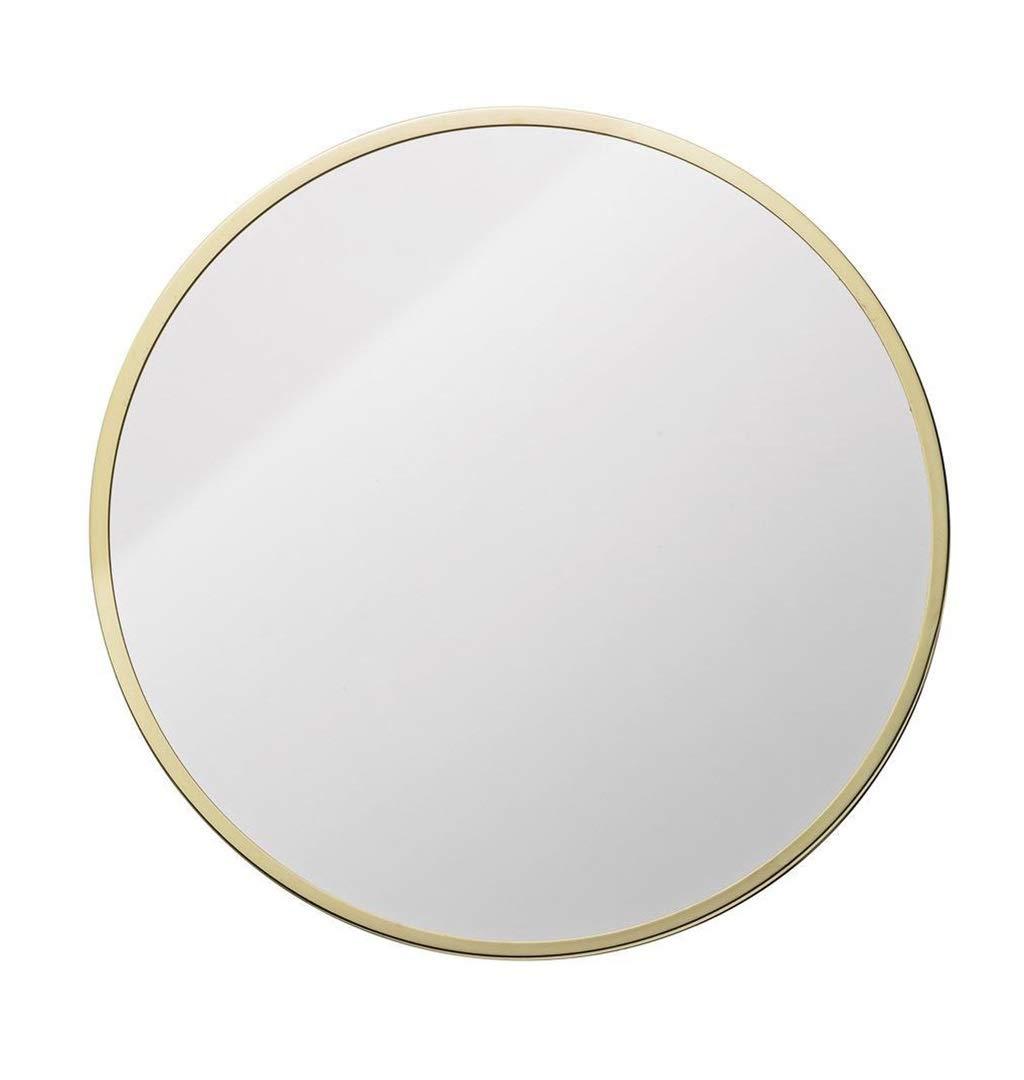 Miroir mural suspendu pour miroir de salle de bain taille : 30cm Miroir de vanit/é fix/é au mur Miroir de maquillage de cercle Cadre en m/étal dor/é
