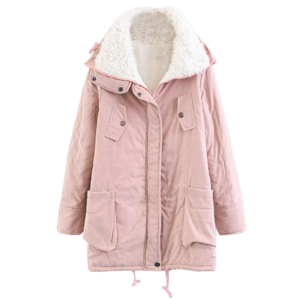 Hoodie Coat for Womens Plus Size Winter Warm Long Sleeve Pocket Oversize Parka Jacket LONGDAY Sweater Cover Up Pink